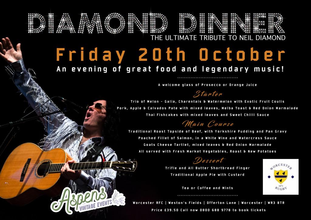 Diamond Dinner £39.50 Call 0800 688 9778